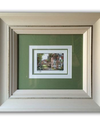 Triple Green & White Mounting with White Frame