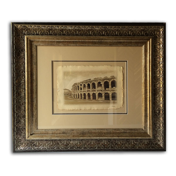 Gold Frame with Beige Mounting