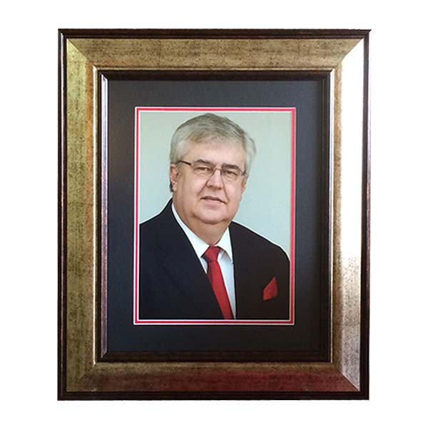 Gold Frame with blue & red mounting
