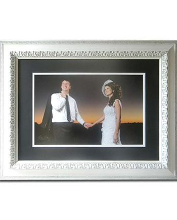 White Frame with dark blue mounting